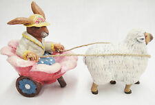 Rabbit in Figural Flower Cart Pulled by Lamb Adorable Easter Decor
