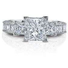 Exceptional 2.23 Ct EGL Certified Princess Cut Diamond Engagement Ring 14k F VVS