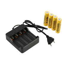 4x 18650 3.7V 9800mAh Li-ion Rechargeable Battery+EU Smart Charger Indicator WK