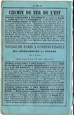 Stampa antica pubblicità FERROVIE PARIGI COSTANTINOPOLI 1870 Antique print