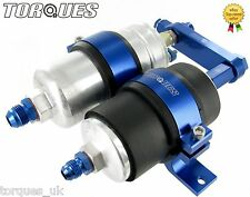 Single Bosch 044 Fuel Pump and Filter Assembly (AN-6, AN-8 or AN-10) In BLUE