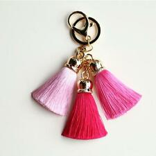 Hot! Ice Silk Tassel Pompom mitate Rabbit Fur Ball Car Keychain Handbag Key Ring
