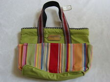 Mackenzie Childs PICK A POCKET TOTE BAG W/SIGNATURE Handles & Brass Plate L NEW