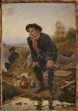 Russian Ukrainian Soviet oil painting realism fisherman fishing tackle picnic