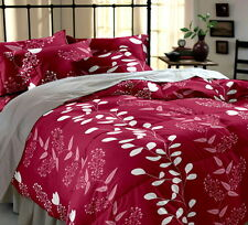 Home Ecstasy Red Floral Double Bed sheet with 2 pillow covers