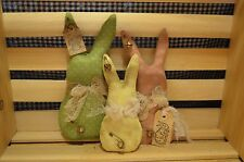 3pc Lot Grungy Pastel EASTER BUNNY Family Ornies Primitive Basket Fillers Rabbit