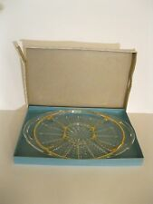 """Vintage Clear Glass 5 Part Relish Divided Serving Tray Gold Trim 15.5"""" Long"""