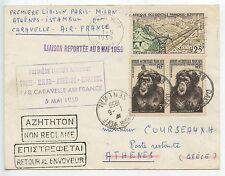 ENVELOPPE / PREMIERE LIAISON PARIS MILAN ATHENES ISTAMBUL / AIR FRANCE 1959