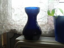 Vintage Bulb Forcing Vase Dark Cobalt Blue Crackle Style Blown Glass, 5 3/4""