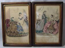 "Pair Victorian Color Fashion Plates, Prints-""Magasin Des Demoiselles""-1864 & 65"