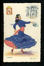 Embroidered clothing postcard Artist Puente Spain Cordoba woman