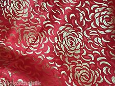 RED GOLD ROSES SHANTUNG FAUX SILK BROCADE FABRIC BTY BLOUSE DRESS ORIENTAL