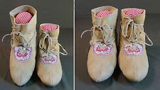 Very Fine 1920's Native American Cree Metis Embroidery Quilled Hightop Moccasins