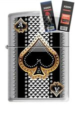 Zippo 7951 ace of spades Lighter with *FLINT & WICK GIFT SET*