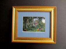 Framed Print Hand Signed Greetings! Tasha Tudor 2002, Tasha & Corgi in Garden