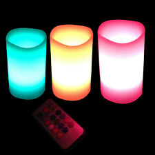 3x Colour Changing LED Lavender Scented Flameless Wax Candles with Remote Timer