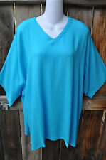"""ART TO WEAR MISSION CANYON 11 SINGLET TUNIC TOP IN SOLID TURQUOISE, OS+, 54""""B"""