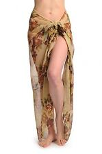 Beige and Brown Vintage Flowers On Mocha Unisex Scarf and Beach (SF000972)