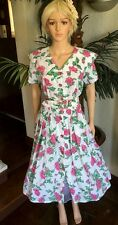 Vintage XL SL Fashions 1980's does 50's Floral Garden Party Dress Rockabilly