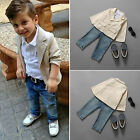 3pcs Toddler Baby Boys Blazer Jacket POLO T-shirt Jeans Pants Casual Outfits Set