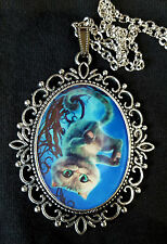 Alice Through the Looking Glass CHESHIRE CAT Large Silver Pendant Necklace Movie