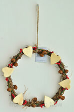 Gisela Graham Heart Twig Wreath with Bells Christmas Decoration Chic Shabby Xmas