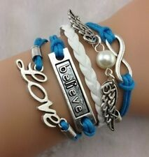 NEW Infinity Believe Love Pearl Wing Leather Charm Bracelet plated Copper A03