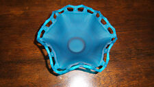 Gorgeous Antique Westmoreland Blue Mist Satin Ruffled & Open Lace Footed Bowl