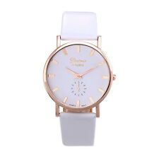 Unique Womens Lady Fashion Geneva Roman Leather Band Analog Quartz Wrist Watch