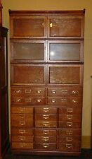 Quartered quarter sawn oak double wide barrister bookcase with drawers----15072