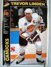 RARE TREVOR LINDEN CANUCKS 1991 VINTAGE ORIGINAL NHL HOCKEY POSTER