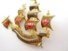 Vintage Gold Plated Damascene Ship Brooch with Red Enamel Toledo Ware Pin Spain
