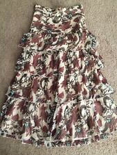 Paul & Joe Maxi Tiered Skirt Brown Floral Size S Made In France 100% Silk