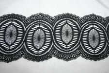 "1 yard Black oval ovals NON Stretch polyester galloon lace trim 5.5"" wide"