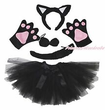 Halloween Party Adult Women Black Cat Headband Paw Tail Bow Gauze Skirt Costume