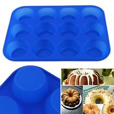 12-Cavity Muffin Cup Silicone Cookies Cupcake Bakeware Pan Soap Tray Mould JL