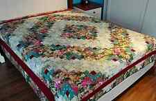 King size Machine pieced and quilted  patchwork Log Cabin quilt  #J-51QK