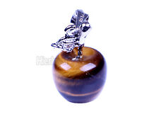 Natural Gemstone Jewelry Pendants Beads Silver Plated Apple Bead Tiger-eye stone