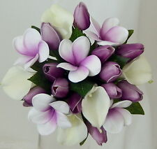 Silk wedding bouquet latex white lily purple tulip frangipani maid posy flowers