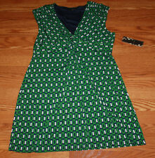 NWT Womens KIARA Green Navy White Patterned Cap Sleeve Knot V-Neck Dress M