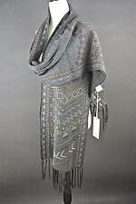 NWT Johnny Was Scarf Sale Wrap Scarf Gray/Brown Long w/Fringes Embroidered