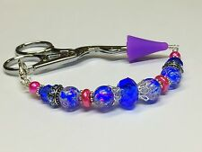 Beaded Scissor Fob with Tip Cover- Cobalt Pink