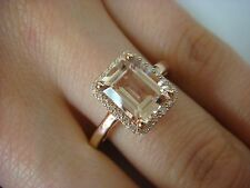 2.25 CT T.W. PINK MORGANITE EMERALD CUT AND DIAMONDS, HALO RING 14K ROSE GOLD