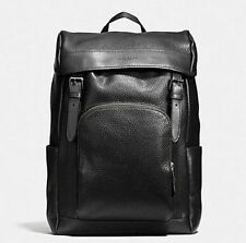 Coach Men's Henry Backpack / Rucksack Black Leather w Dustbag and Gift Receipt