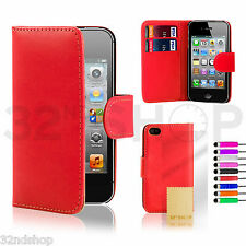 32nd Book Leather Wallet Case Cover For Apple iPhone + Screen Protector & Stylus
