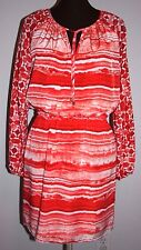 DRESS Michael Kors Striped 6 S M Long sleeve Orange Red Hot Coral White New