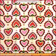 "IN THE BEGINNING ""MARZIPAN"" VALENTINE HEARTS LOVE FABRIC 1/2 YD 18"" X 44"""