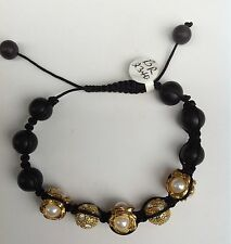 Shamballa / Chamballa Bracelet With Gold Plated CZ And Pearls