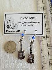 Silvertone Bass Guitar Dangle Earrings - Free Shipping
