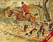 TOPPING THE WALL FOX HUNT HORSE FOXHUNTING HUNTING ART PAINTING CANVAS PRINT